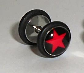 Stainless Steel Red Star Fake Ear plug