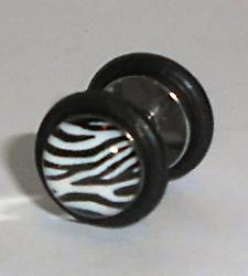 Stainless Steel Zebra Print Fake Ear plug